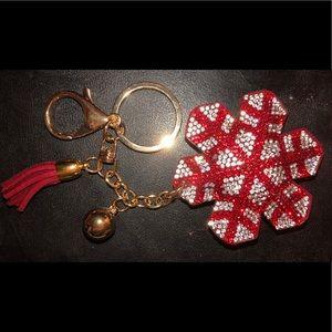 Rhinestone Red / Silver Snowflake keychain